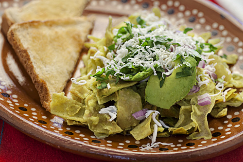 Green Chilaquiles with toasted bread
