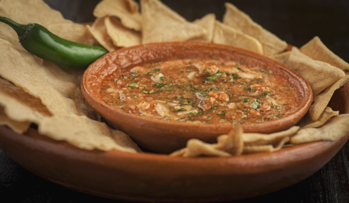 Tomato and Serrano Pepper Salsa served with tortilla chips